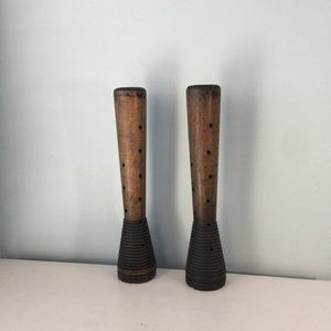 Authentic Antique Woolen Mill Bobbin Candleholders